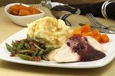 美味しく感謝祭トルコ胸ダイナー — ストック写真