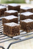 Chocolate brownies with powdered sugar on top — Stock Photo
