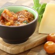 Pizza or pasta sauce and parmesan cheese — Stockfoto