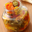 Pickled hot peppers — Stock Photo