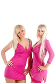 Two beautiful blondes in pink blouse — Stock Photo