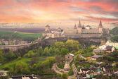 Vue spectaculaire sur le château à kamianets-podilskyï — Photo