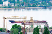 Cargo barge on water — Stock Photo