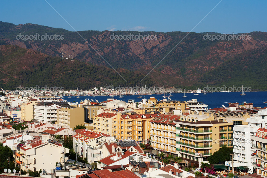 Urban view on Marmaris with colorful buildings and Mediterranean sea on it, Turkey — Stock Photo #6728715