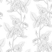 Rose seamless flower background, vector illustration. — Stock Photo