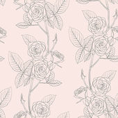 Rose seamless flower background, vector illustration. — Stock Photo