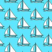Nahtlose-tapete mit einem segelboot — Stockfoto