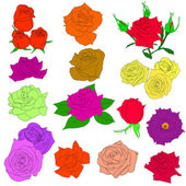 Set of in hand drawn style roses. Vector EPS 10 illustration. — Stock Photo