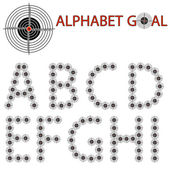 Vector alphabet of the target, hit the target — Stock Photo