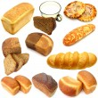 Assortment of different types of bread isolated on white backgro — Stock Photo