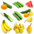 Fruits and vegetables collection isolated on white background — Stock Photo