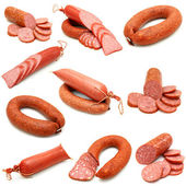 Sausage collection isolated on white background — Stock Photo