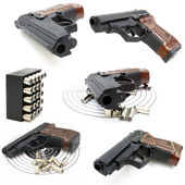 Set of The close up of a pistol a target and cartridges is isola — Stock Photo