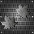 Metal shield maple leaf  background with rivets — Stock Photo