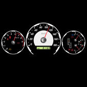 Car speedometer and dashboard at night. Vector illustration — ストック写真