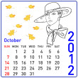 Royalty-Free Stock Photo: 2012 year calendar in vector. October