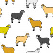 Seamless wallpaper with sheep and rams — Stock Photo