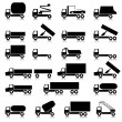 Stock Photo: Set of vector icons - transportation symbols. Black on white. C