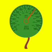 Car speedometer as the tree crown — Stock Photo