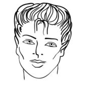 Hand-drawn fashion model. Vector illustration. Man face — Stock Photo