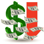 Crisis finance - the dollar symbol — Stock Photo