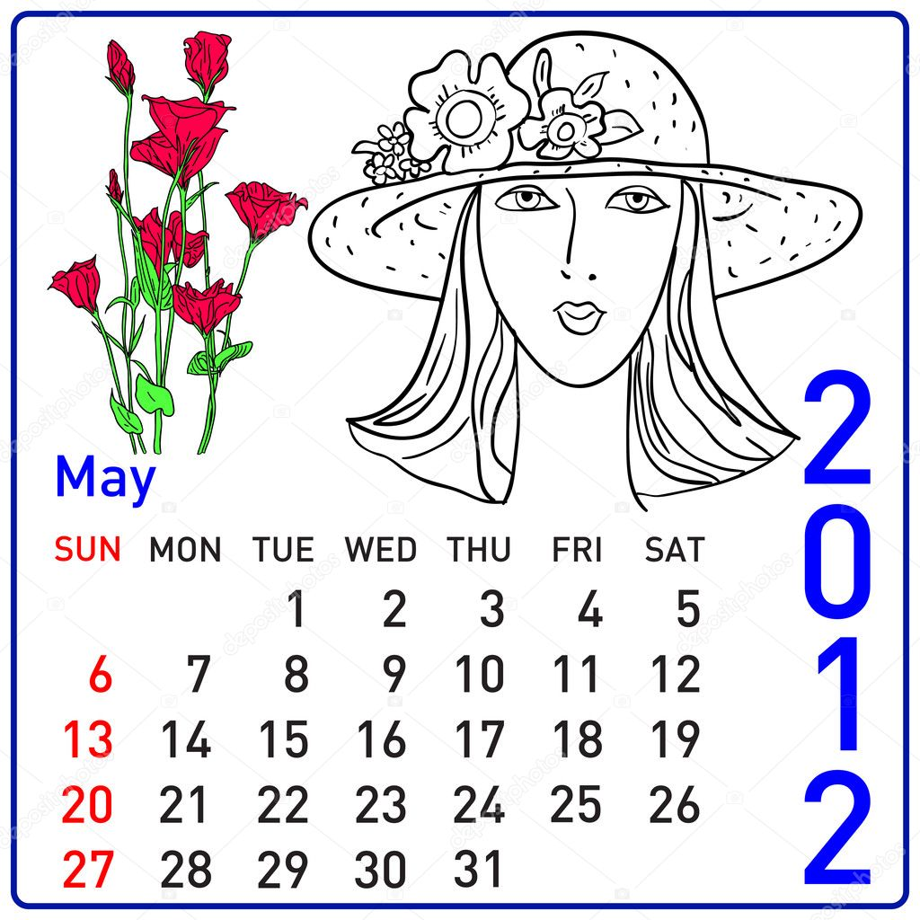 2012 year calendar in vector. May. — Stock Photo #6315795