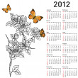 Calendar for 2012 with flowers — Stock Photo