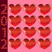 Stylish calendar with red hearts for 2012. Sundays first — Stock Photo