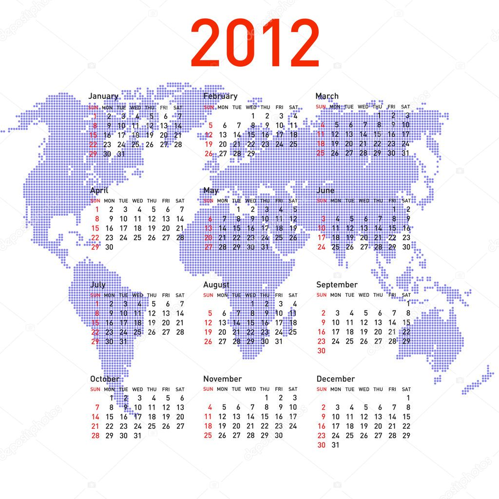 Calendar 2012 with world map. Sundays first — Stock Photo ...