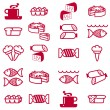 Set of vector silhouettes of icons on the food theme — Stock Photo #6583869