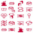 Royalty-Free Stock Photo: Set of vector silhouettes of icons on the food theme