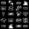 Stock Photo: Set of vector silhouettes of icons on the food theme