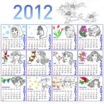 2012 year calendar in vector. Hand-drawn fashion model. — Stock Photo