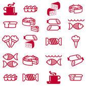 Uppsättning vektor silhuetter av ikoner på temat mat — Stockfoto