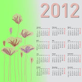 Stylish calendar with flowers for 2012. Week starts on Monday. — Stock Photo