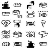 Set of vector silhouettes of icons on the food theme — Stock Photo