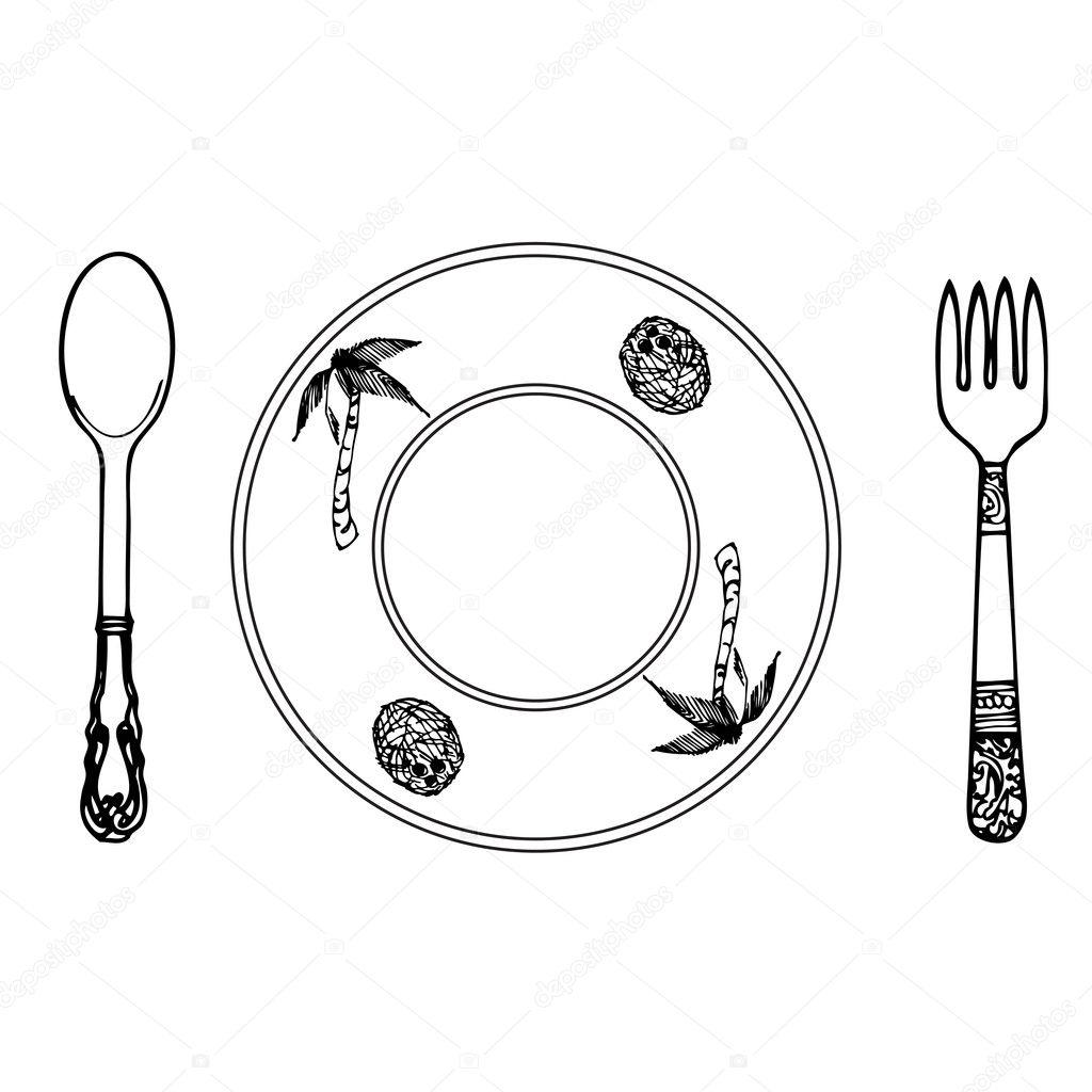 karikatür tabak çatal ve kaşık — stok foto © aarrows 6584368