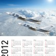 Calendar 2012 with plane image.  Vector illustration — Stock Photo