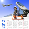 2012 Calendar with a military pilot and aircraft - Stock Photo