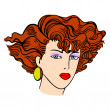 Hand-drawn fashion model. Vector illustration. Woman's face — Stock Photo