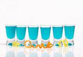 Six blue shots — Stock Photo