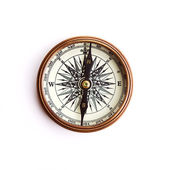 Vintage brass compass with clipping path — Stock Photo