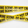 Crime scene yellow tapes with clipping path — Stock Photo