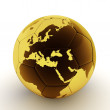 Gold soccer ball with world map — Stock Photo #6569723