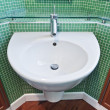 Bathroom with green mosaic tiles — Foto Stock