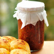 Bread with cheese and tomato sauce — Stock Photo