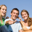 Happy group of smiling kids with thumbs up — Stock Photo