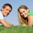 Teen couple with perfect white smiles, — Стоковая фотография