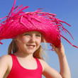 Happy summer child in sunhat — Stock Photo