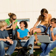 Outdoor study group of students — Foto Stock